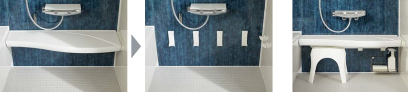 カウンターをまるごと壁からカンタンに外せます。カウンターの下に風呂イスが収まります。