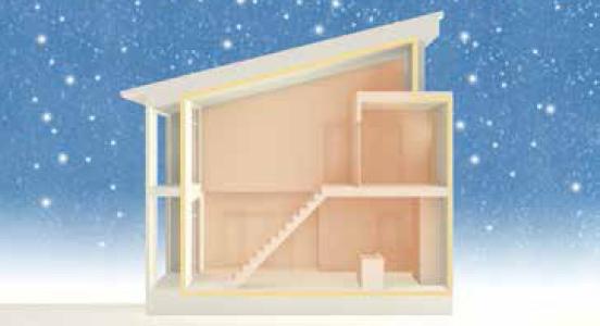 スーパーウォールの家は、断熱材で包み込んだ魔法瓶のような空間
