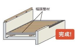 端部に幅調整材を設置します。