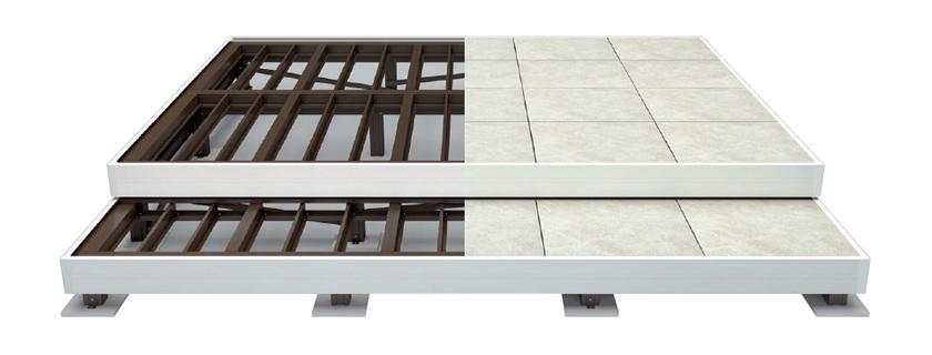 従来の湿式工法とは異なるアルミ基礎構造によるシンプル&簡単施工。
