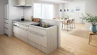 PLAN7 オープン対面キッチン 対面キッチンユニット・リビング収納タイプ サイドデスク付 ペニンシュラI型 間口255cm