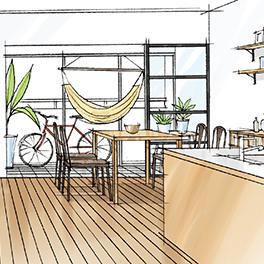 ガラスのパーテーションで仕切ることで、部屋の明るさは変えることなくリノベーション。