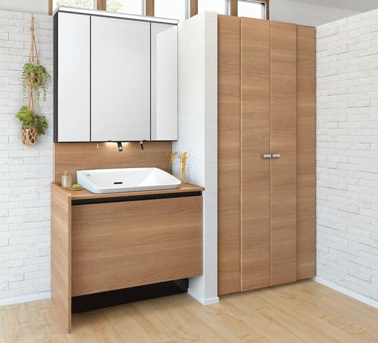 洗濯機をすっきりと隠してお客さまも使える洗面空間に。