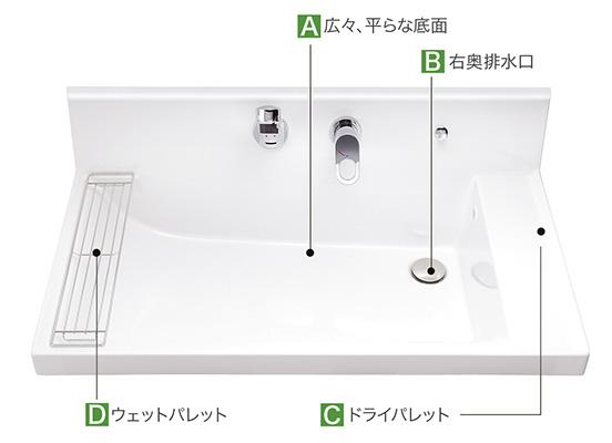 やわらかなカーブ形状でワンサイズ上の広さを実現した大型洗面器