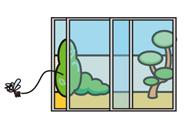 お庭に出入りする窓