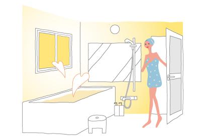 インプラスを後付けした浴室は、冬でもあたたか。