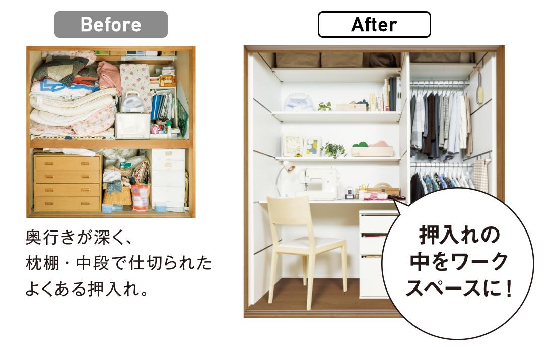 Before:奥行きが深く、枕棚・中段で仕切られたよくある押入れ。 After:押入れの中をワークスペーズに!