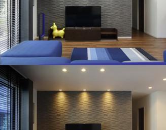 色を変えてアクセントにした壁は、調湿性素材に。の写真