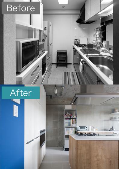 独立型キッチンを開放型キッチンに変え、広々と。の写真