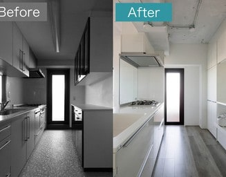 明るく広いキッチンは、使いやすく機能的。の写真