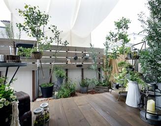 マンション1階の専用庭。の写真