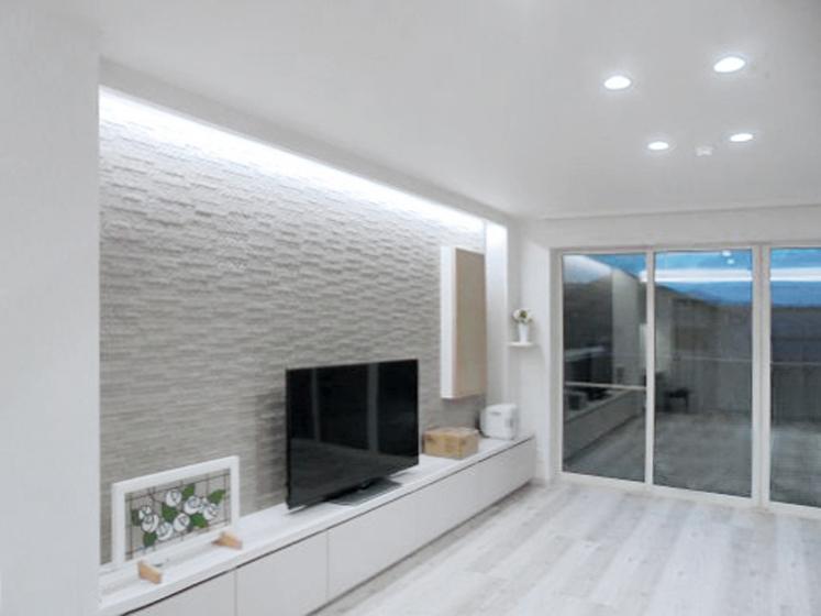 白で統一された空間。の写真