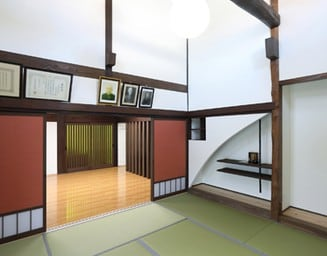 吹き抜け空間の和室。の写真