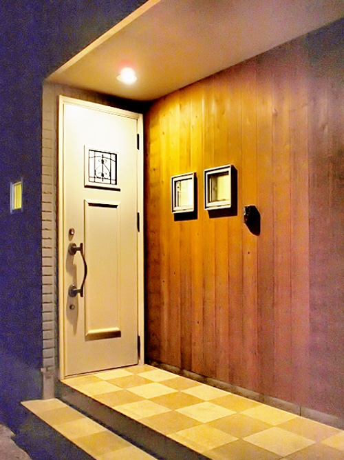 暖かい玄関。の写真