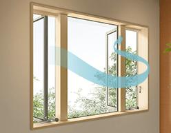 ウインドキャッチの窓で換気効率がアップ。