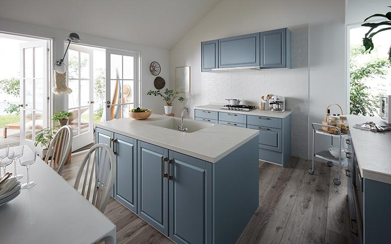 ブルーのアクセントカラーを取り入れた北欧風キッチン