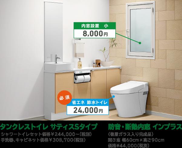 タンクレストイレ サティスSタイプ/防音・断熱内窓インプラス